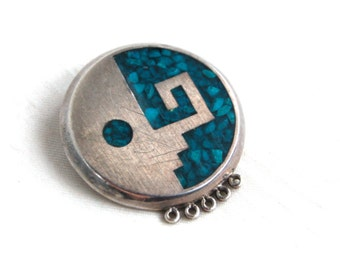 Mid Century Mexican Pendant Vintage Turquoise Sterling Silver Modernist Jewelry Guadalajara Mexico Strong Woman