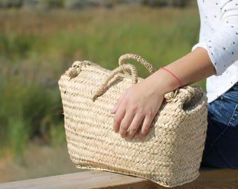 MAIORCA BASKET BAG, Straw Bag with Buttons, panier, Straw handbag, Cestino, Korb, kurv, mand, Cesta em Empreita, Straw basket bag, cesta