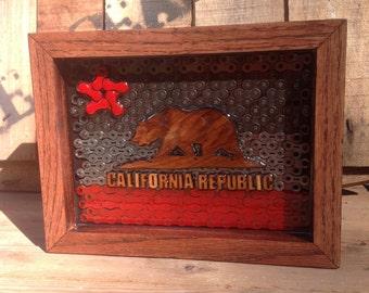 CALIFORNIA - flag series of reclaimed bike chain