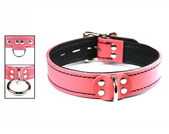 Pink Collar with Black Leather Lining, Locking Buckle - Your Choice of Front Ring and Stitch Color