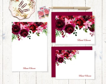 complete personalized stationery set - BURGUNDY and RED watercolor ROSES - folded and flat cards - notepad - flowers gift set - pretty cards