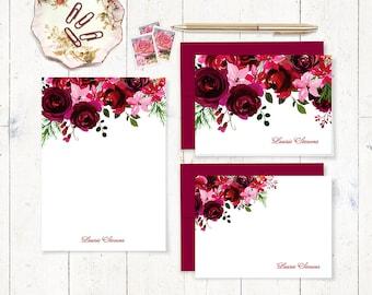 ensemble complet papeterie personnalisée - Bordeaux et rouge aquarelle ROSES - cartes pliées et plats - bloc-note - fleurs ensemble-cadeau - jolies cartes