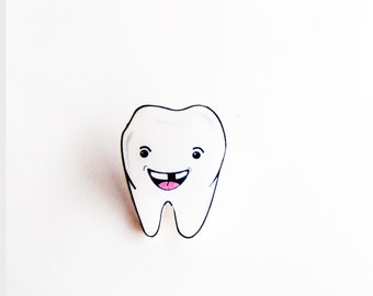 Tooth with Missing Tooth, Tooth pin, Teeth pin, Dental Tooth brooch