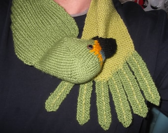 Knitted Green Parrot Scarf