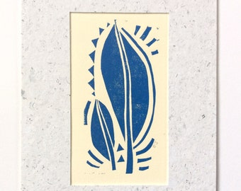 mini linocut - LEAVES // 5x7 art print // printmaking // block print // blue // leaf // nature art // original art // miniature // small