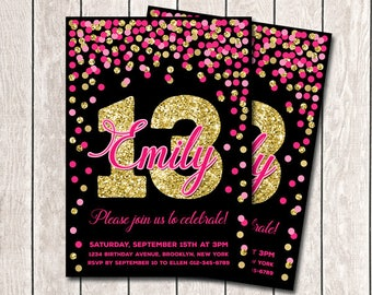 13th Birthday Invitation Any Age Girl Birthday Invites Printable Hot Pink Gold Confetti Birthday Invitations For Girls Pink Gold And Black