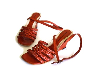 BEOBASICS shoes Womens Leather shoes Genuine leather Wedge shoes  Eur 37 Orange Woven leather Sandals Open heel  Toe shoes Strappy sandals
