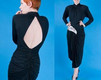 LIGHTNING BOLT Vintage 80s Black Sheath Party Dress + Sequins / Beads! S/M Small Medium