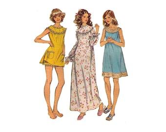 Simplicity 5030, 70s sewing pattern, size 12-14 medium, nightgown pattern, ruffle nightgown, lace nightgown, ankle length