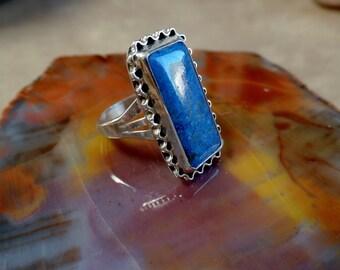 Lapis Lazuli Ring, Sterling Lapis Ring, Blue Lapis Ring, Silver Lapis Ring, Blue Gemstone, Ladies Lapis Ring, 925, Denim Lapis, 1149