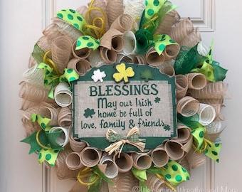 St. Patrick's Day Wreath, St. Patrick's Day Deco Mesh Wreath, Irish Blessings Wreath, St. Patrick's Day Door Wreath, St. Patrick's Day Decor