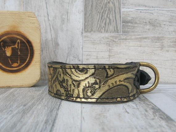 Floral Leather Dog Collar with Solid Brass Hardware, Stylish Dog Collar, Luxury Dog Collar, Handmade Dog Collar, Fashion Dog Collar