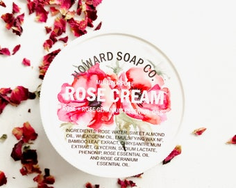 ROSE CREAM >> multipurpose/rose essential oil/rose water/howardsoapcompany/minnesotamade