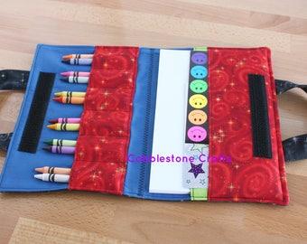 Crayon Notepad Holder Lg w/ Stickers - Blk Stars w/ Blue-Toddler Coloring, Kids Art Supplies, Crayon Holder, Crayon Notebook
