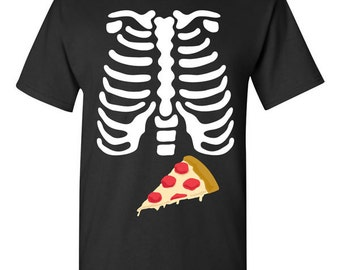 Skeleton Pizza Ribcage Halloween T-shirt Tshirt Tee Shirt Gift Father Pregnancy Xray Junk Food Funny Couples Costume College Joke Dad Scary