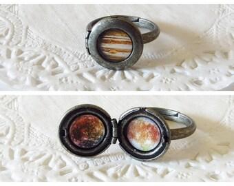 Jupiter Ring, Jupiter, Jupiters Moons, Solar System Ring, Callisto, Europa, Ganymede, Io, Space Ring, Jupiter Locket, Space Locket, Space