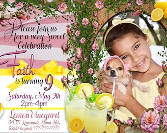 "Lemonade Birthday/Lemonade Invitation/Lemonade Theme with photo Invite (Includes Back of invite and 4""x5"" Thank you Cards)"