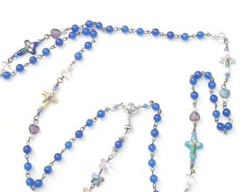 My first communion rosary HEY MARY Peace Beads by T.R.Jackson catholic gift petite blue adventurine gems crystal hearts butterflies cloisonn