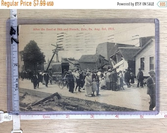 10%OFF3DAYSALE Vintage Old Post Card After The Flood 18th And French Erie Pa Post Marked 1915 Used