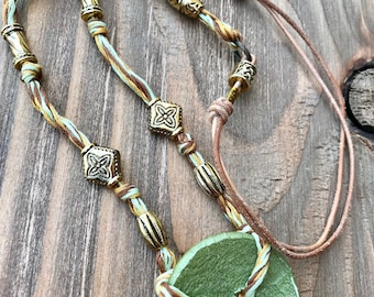 Boho Button and Leather Necklace/Handmade Bohemian Floss Necklace/Adjustable/One of a Kind Necklace