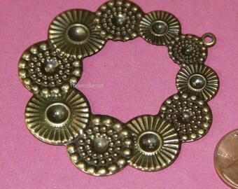 4 pcs of Antique Brass flower pendant 54x67mm