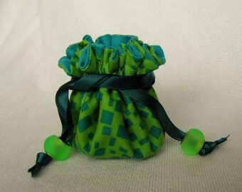 Jewelry Bag - Mini Size - Traveling Jewelry Pouch - Tote - Drawstring Bag - BOT DOTS