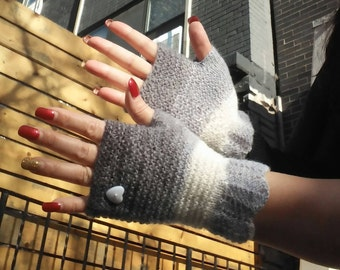 HAND KNITTED GLOVES,Fingerless Mittens,Mohair Gloves,Valentine day  gift,Wrist warmers,gift for her,Gray Fingerless,Texting Gloves