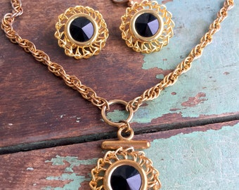 Vintage Black Glass Rivioli glass medallion chain Necklace and earring set
