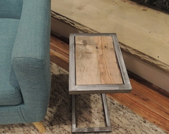 "Reclaimed wood side table- ""The Modern C"""