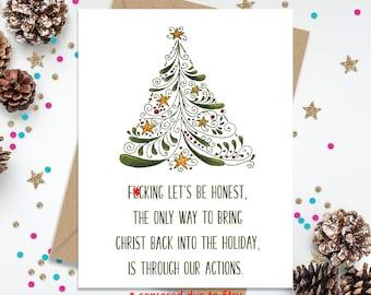 Christmas Card, Funny Christmas Card, Funny Greeting Card, Holiday Card, Christ In Christmas, Christian Holiday Card, Xmas Card