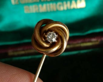 Victorian 14k yellow gold old mine diamond lovers knot stick pin - antique jewelry