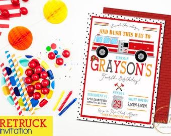 Fire truck birthday invitation, printable Firefighter invitation,Fire truck Party, Firefighter Certificate, Fireman Party, Fireman birthday
