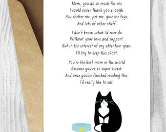 Mothers Day Card Funny Instant Download, Card for Cat Moms, Printable Mother's Day Cards from the Cat, Tuxedo Cat Card for Her, Black Cats