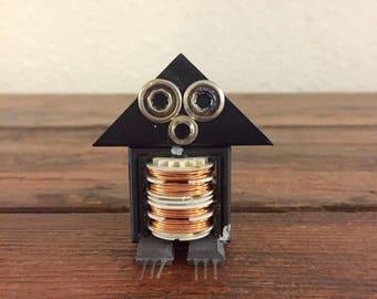 Penny Penguinbot / Tiny Robot Sculpture / Found Object Art / Assemblage Art / Recycled Robot / Handmade