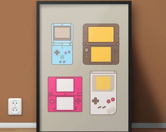 Video Game Poster, College Dorm Video Game Art, Super Mario Nintendo Gameboy Game Print, Nintendo Lover Locker Poster, Man Cave Video Gamer