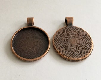 Blowout Sale - 25mm Round Pendant Tray - Tibetan Style Bronze - DIY Pendant and Keychain - Qty 15