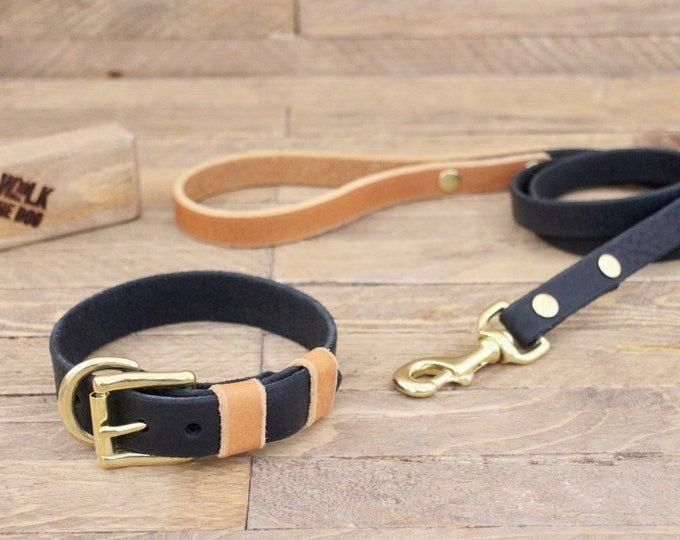 Dog collar, Dog leash, Set, Raven, Whiskey, Colour,  Brass, FREE ID TAG, Handmade leather collar, Leather leash, Leather collar.