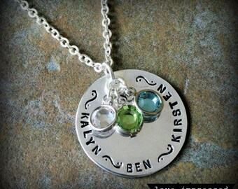 Family Circle Name Birthstone Hand Stamped Personalized Mother Grandmother Necklace