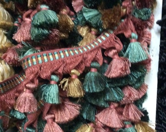 "Tassel fringe  3""brick teal gold green"