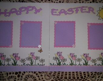 12x12 Two page Easter Scrapbook layout