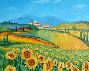 Sunflowers of Tuscany Italy Oil Painting Canvas Art Original Painting Impressionism Painting Impressionism Art Wall Art