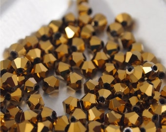 Chinese Crystal 4mm Bicones-Metallic bronze-100 pieces (MW4BB)