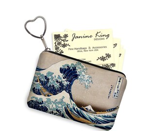 Small Zipper Pouch Coin Purse Keychain  Great Wave by Hokusai Business Card Holder Key Fob fabric pouch Japanese Asian Art blue yellow RTS