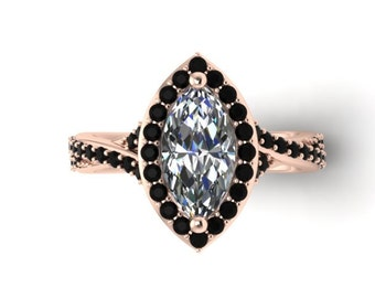 Marquise Engagement Black Diamond Vintage Rose Gold Ring Black Gold Fine Jewelry Halo Diamond Engagement 10x5mm Moissanite Center - V1109