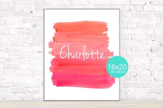 Playroom Poster with Custom Name, 12x16, 16x20 Brushstroke