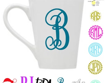 vinyl DECAL ONLY, Monogram initial or circle monogram for coffee cup, Yeti Cup or water bottle vinyl decal, Car window laptop monogram decal