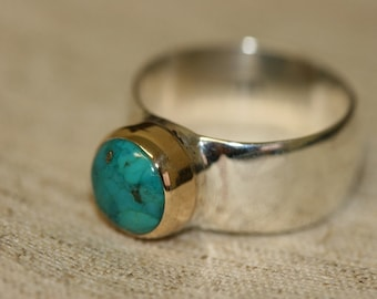 Turquoise Silver Ring, Silver Rings,  Silver and 14K Gold Rings, Turquoise Jewelry, Birthstone Ring ,Ring Size 7 1\2
