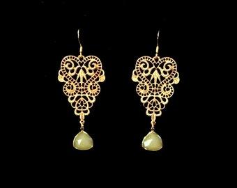 Gold Art Deco Vintage Heart Swirls Sea Green Stone Earrings