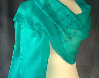 Pride and Prejudice Gifts, Jane Austen Quotes Bookish Scarf, Hand Painted Silk Gift-Wrapped,