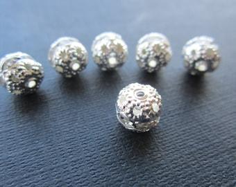 Crystal Rhinestone Banded Silver Filigree Beads 8mm  6Pcs.